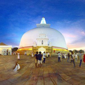 The Ruwanwelisaya Stupa in Anuradhapura, Sri Lanka.