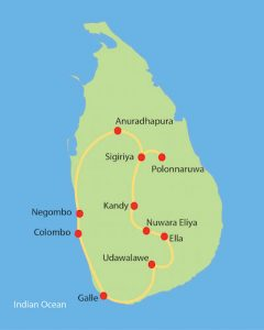 Sri Lanka Small Group Tour Private Tour Route Map