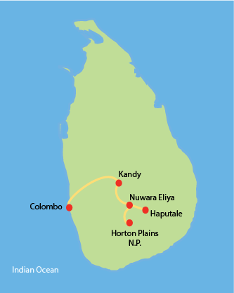 Sri Lanka Tour Route - Ceylon Tea Country